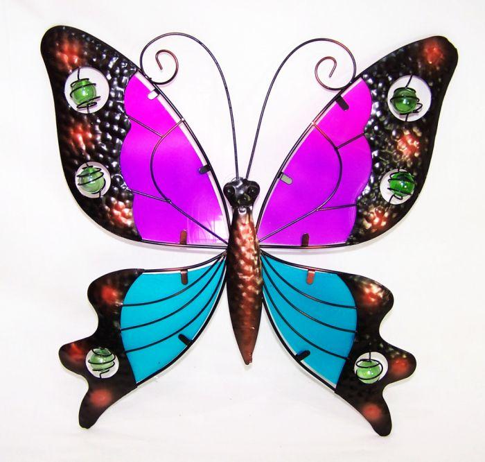 Gro er schmetterling metall und glas wanddeko gartendeko garten butterfly neu ebay - Garten wanddeko ...