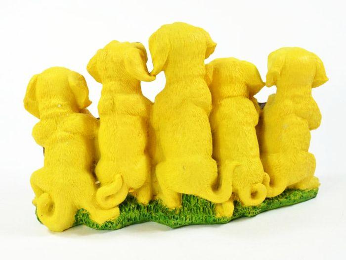 Willkommen Dekofigur Hund Hundewelpen Deko Figur mit 5 Welpen Dog Statue Neu