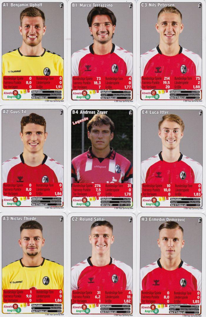 2020 Karten Fußball Bundesliga Neu OVP SC Freiburg  Quartett Kartenspiel 2019
