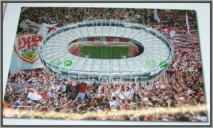 vfb stuttgart stadion puzzle spiel 500 teilig fu ball mercedes b restposten. Black Bedroom Furniture Sets. Home Design Ideas